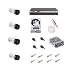 KIT CAMERA INTELBRAS COM DVR MHDX3104 E 4 CAMERAS VHL1120B